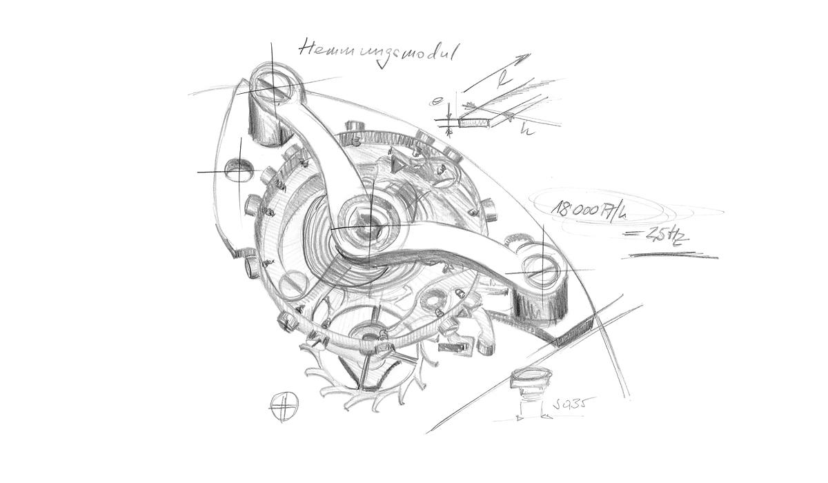 Logez Illustration H-Moser Uhren Hemmungsbaugruppen Skizze