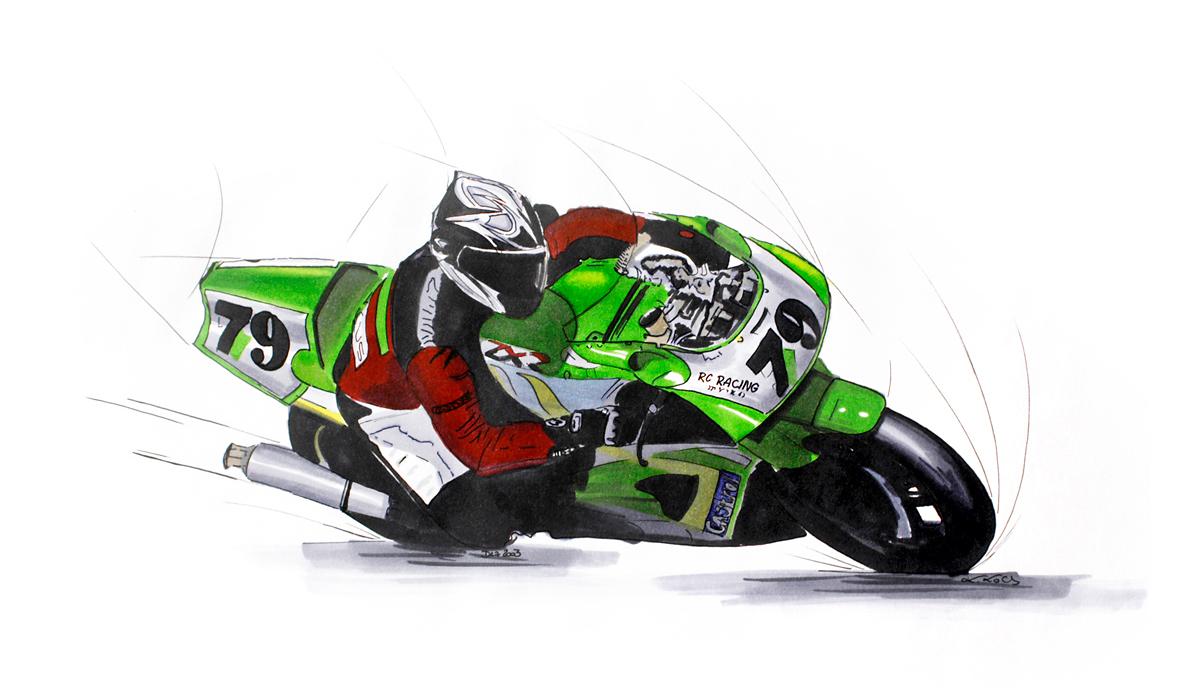 Logez Illustration Motorad Bike Zeichnung