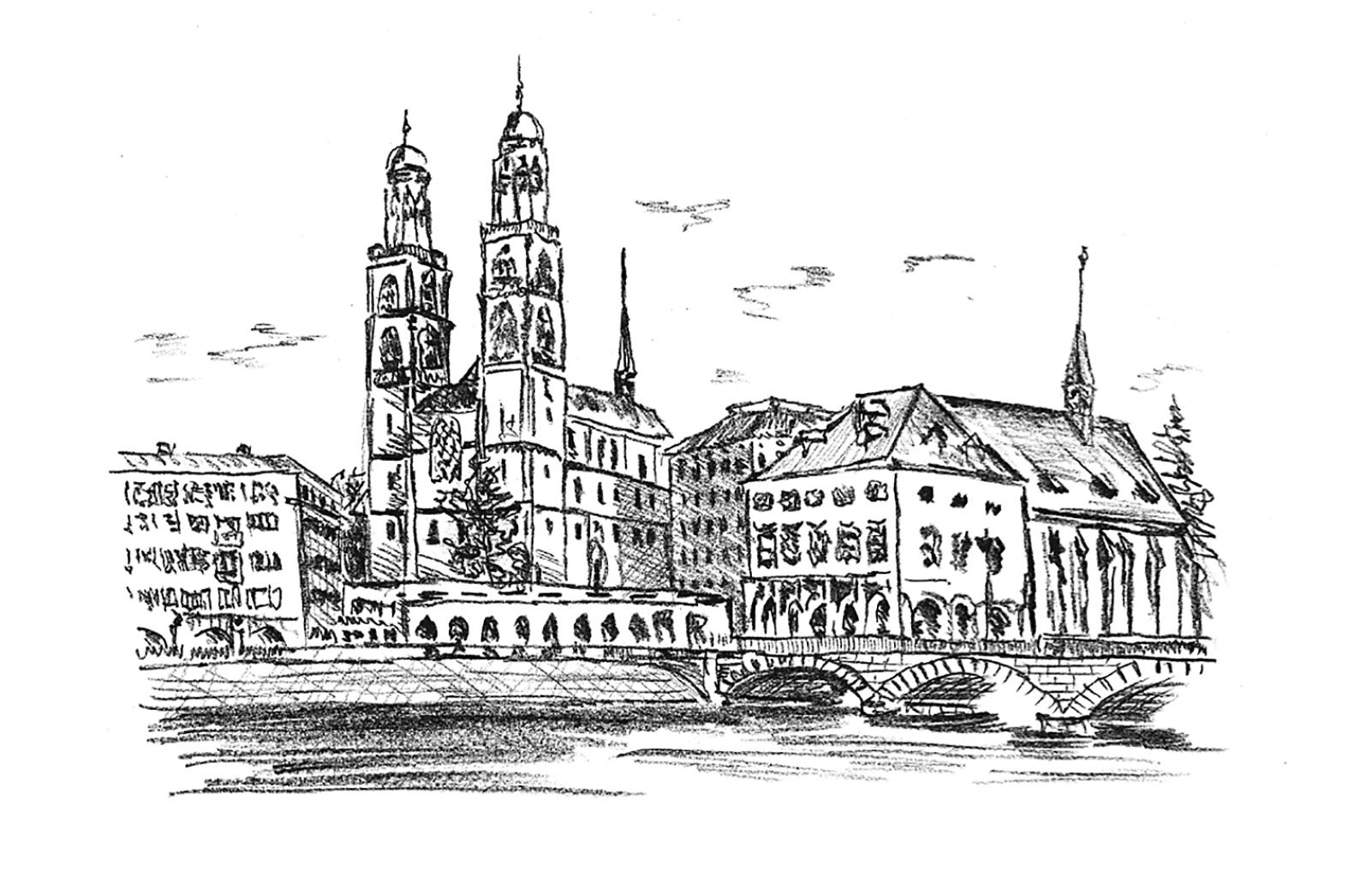 Logez Illustration Zürcher Münster für Weinetikette Skizze